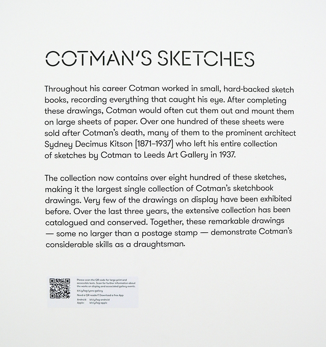 Cotman sketches text board