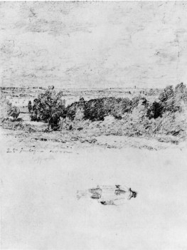 John Constable The Stour Valley from Flatford Lane near East Bergholt, 25 July 1813 Graphite on paper, 4 ¾ x 3 ½ ins, 120 x 89 mm Page 12 of a sketchbook used in Suffolk and Essex in 1813 London, Victoria and Albert Museum, (317-1888) Image scanned from G Reynolds, The Early Paintings and Drawings of John Constable, 1996, pl.1013 ]