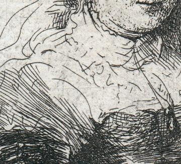 Horizontal scratch across Saskia's breast