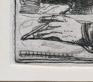 Vertical scratch through Rembrandt's hand
