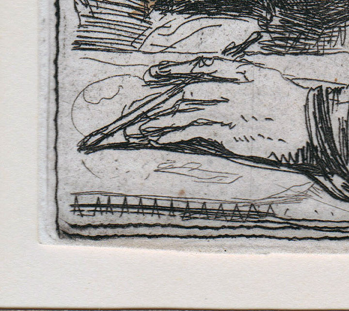 Vertical scratch through Rembrandt's hand