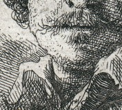 Horizontal scratches on Rembrandt's chin