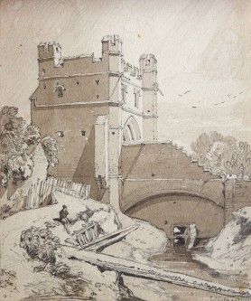 John Sell Cotman (1782-1842) The South Gate, King's Lynn, Norfolk, from the west, 1818 On the verso, a slight indication of pictures in frames? Pencil and sepia wash on heavyweight, stiff, textured, warm cream, wove paper, 208 x 175 mm, 8 3/16 x 6 15/16 ins Inscribed in pencil, lower right, by the artist, 'J S Cotman 1818' and on verso in pencil, 'South Gate Lynn/ Norfolk'