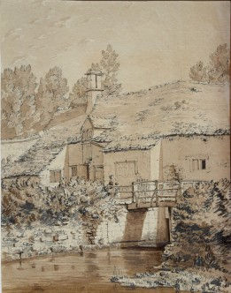 Susanna Twopenny or Catharine Twopeny Tolethorpe Mill, near Little Casterton, Rutland [Verso] Rochester Castle, Kent. Pencil and sepia wash on medium-weight, buff, handmade, rag, wove paper, watermarked 'J WH[..atman]/ TURK[..EY MILL]', 233 x 180 mm. Inscribed in pencil on verso: 'Tolthorpe Mill', and more faintly across centre, 'Catharine', and to right of Rochester Castle 'Tower', and initialled lower right corner, 'S T'. There is a distinct crease running up the sheet towards the left side as seen from the verso, ?possibly where the sheet was hung on a line to dry during manufacture.